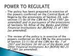 power to regulate