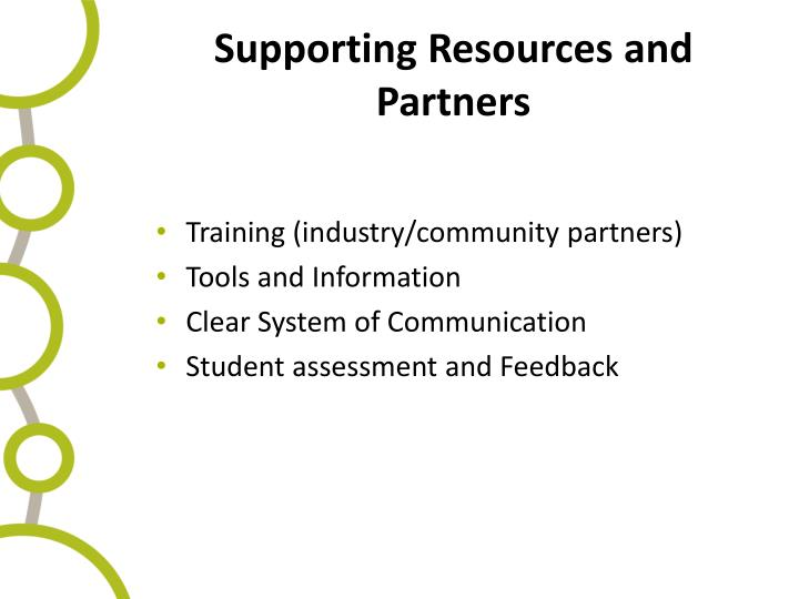 Supporting Resources and Partners