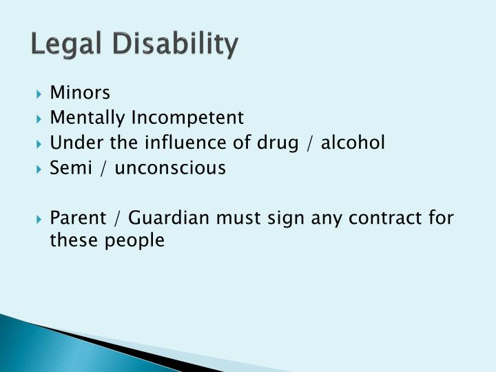 Legal Disability