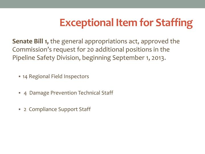 Exceptional Item for Staffing