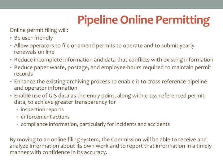 Pipeline Online Permitting