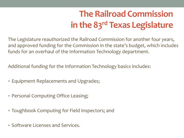 The railroad commission in the 83 rd texas legislature