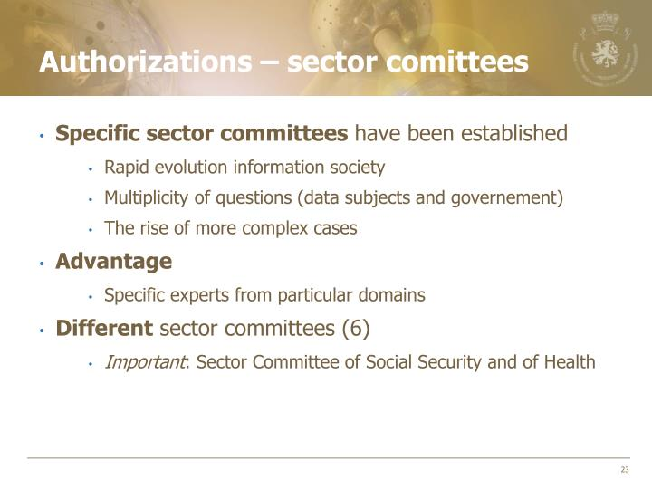 Authorizations – sector comittees