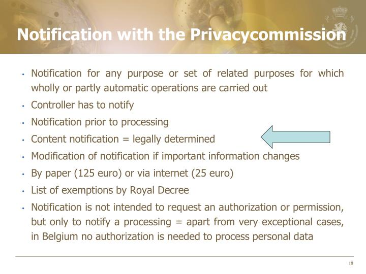 Notification with the Privacycommission