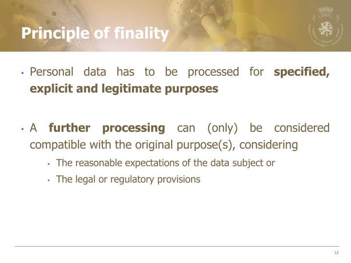 Principle of finality