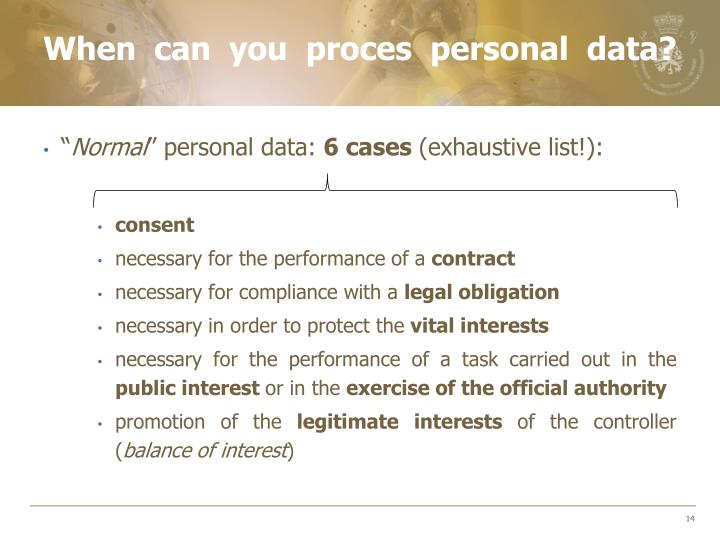 When can you proces personal data?