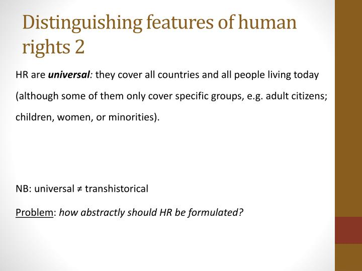 Distinguishing features of human rights 2