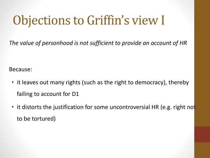 Objections to Griffin's view I