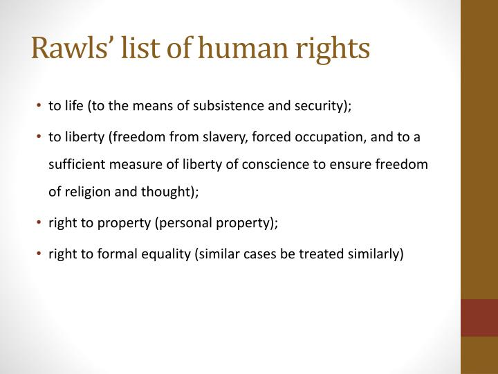 Rawls' list of human rights