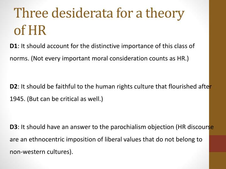 Three desiderata for a theory of HR