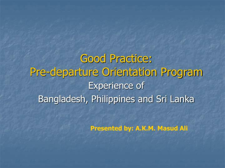 Good practice pre departure orientation program