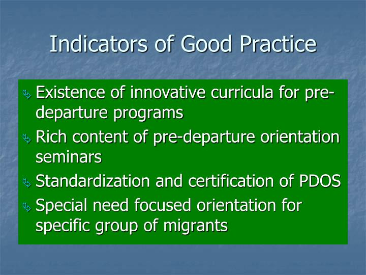 Indicators of Good Practice