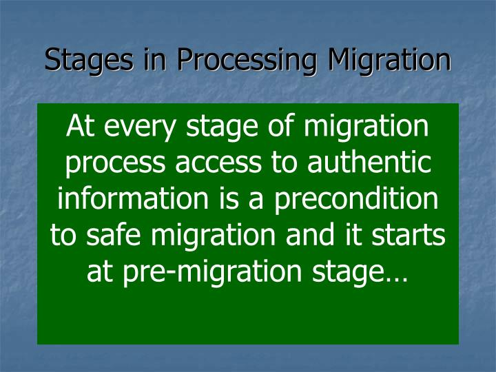 Stages in Processing Migration