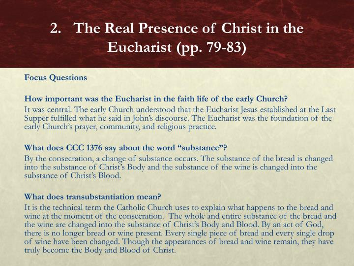 2.   The Real Presence of Christ in the Eucharist (pp. 79-83)