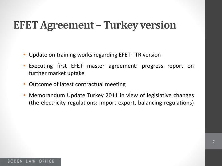 EFET Agreement – Turkey