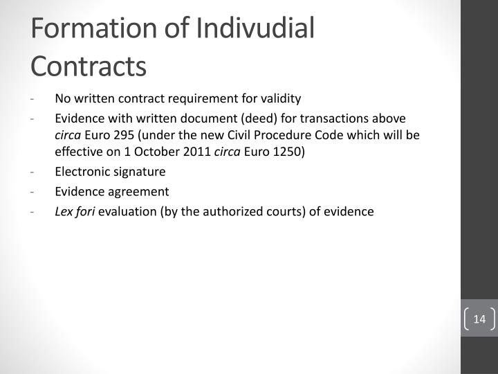 Formation of Indivudial Contracts