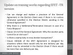 update on training works regarding efet tr version4