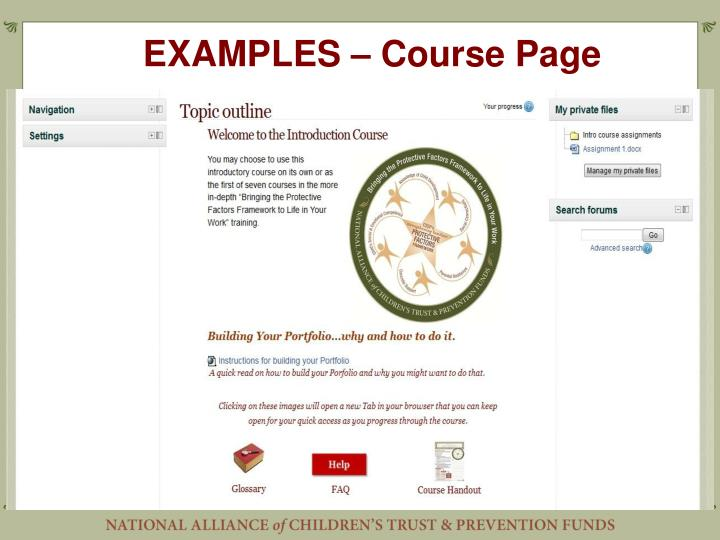 EXAMPLES – Course Page