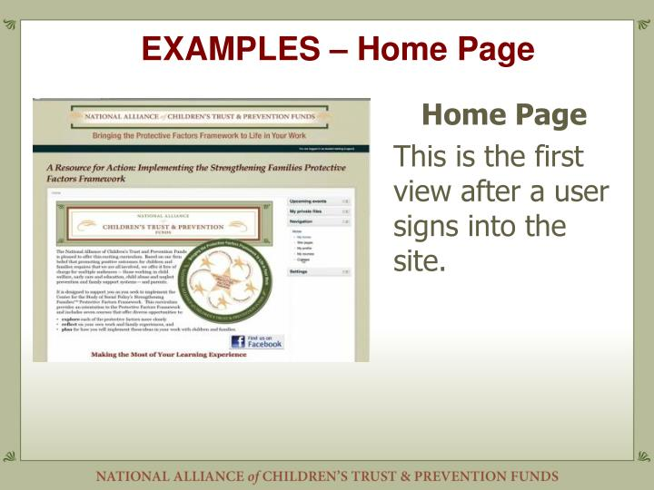 EXAMPLES – Home Page