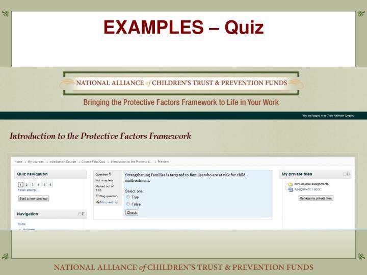 EXAMPLES – Quiz