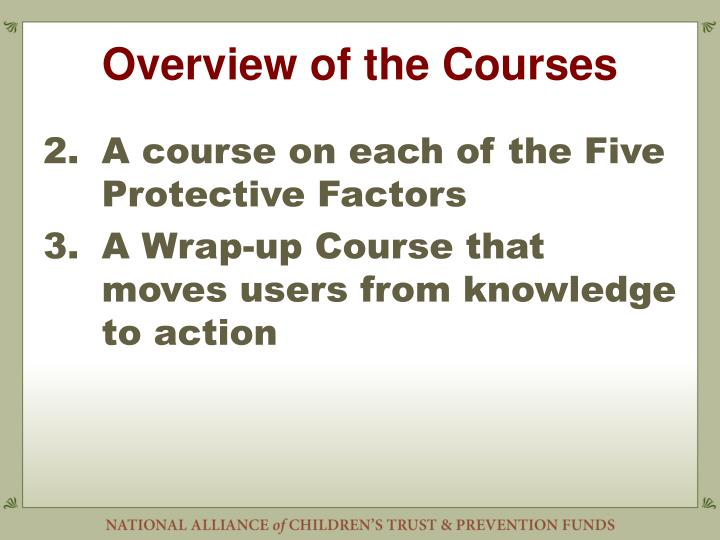 Overview of the Courses