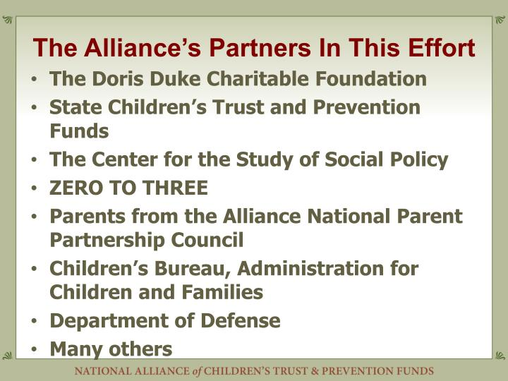 The Alliance's Partners In This Effort