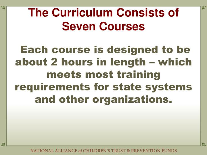 The Curriculum Consists of Seven Courses