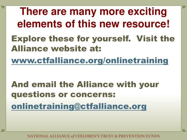 There are many more exciting elements of this new resource!
