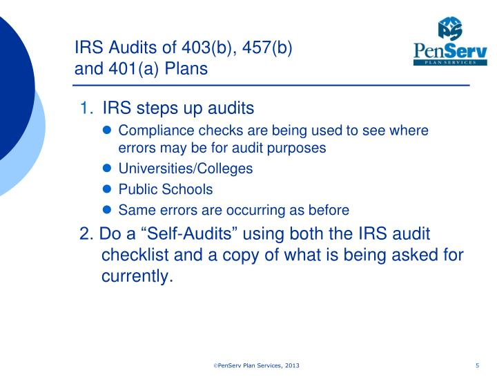 IRS Audits of 403(b), 457(b)