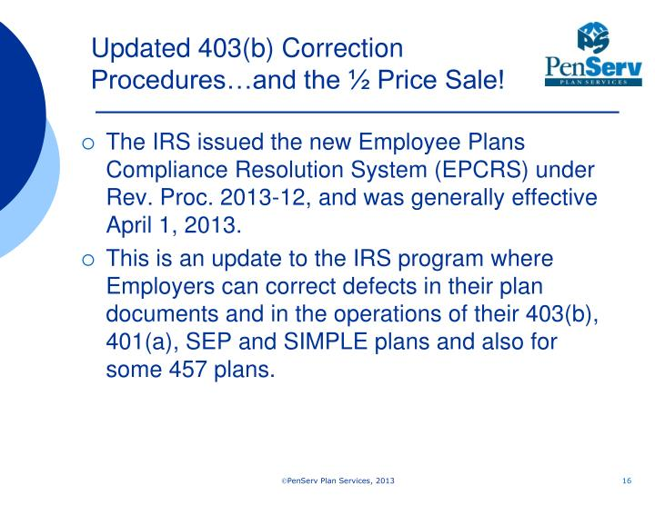 Updated 403(b) Correction Procedures…and the ½ Price Sale!