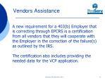 vendors assistance