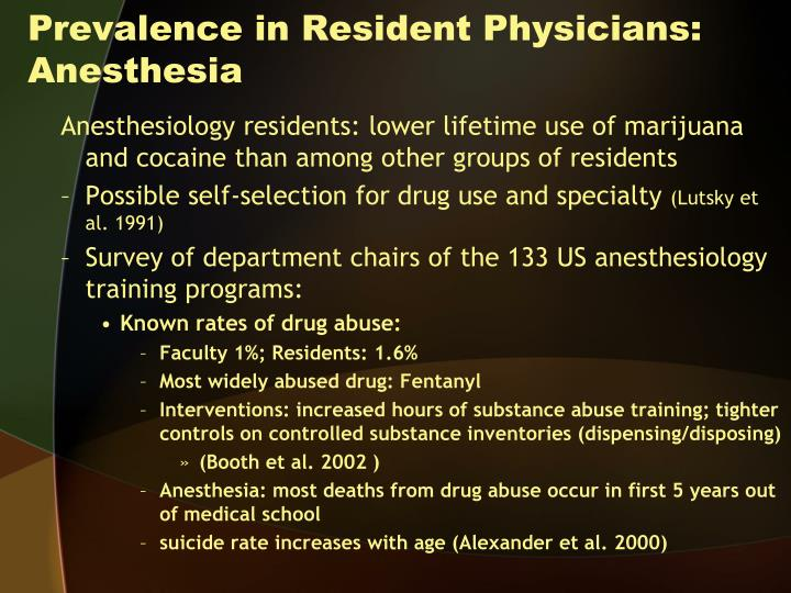 Prevalence in Resident Physicians: Anesthesia