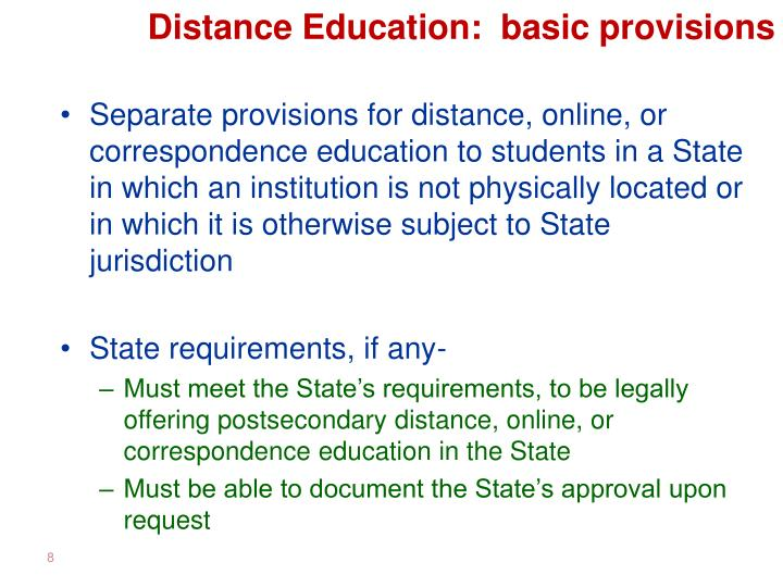 Distance Education:  basic provisions