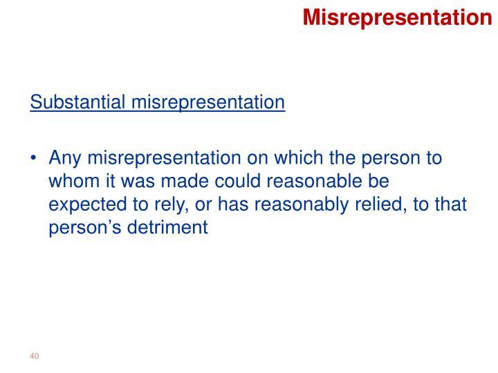 Misrepresentation