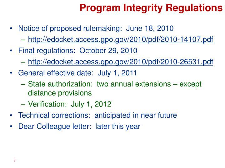 Program Integrity Regulations