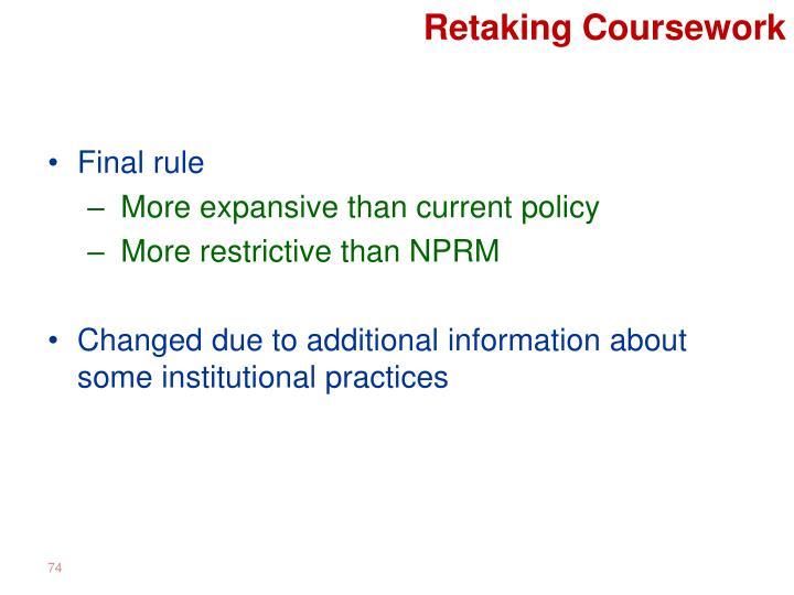 Retaking Coursework