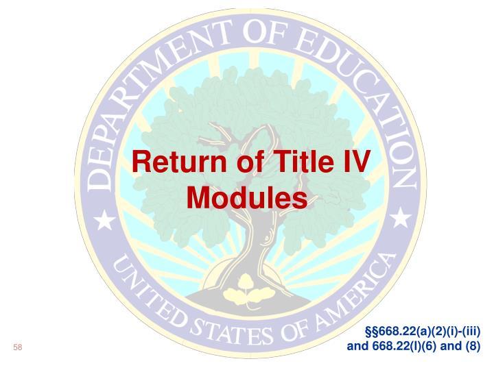 Return of Title IV