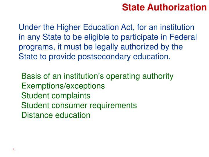 State Authorization