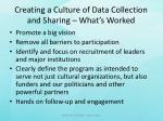 creating a culture of data collection and sharing what s worked1