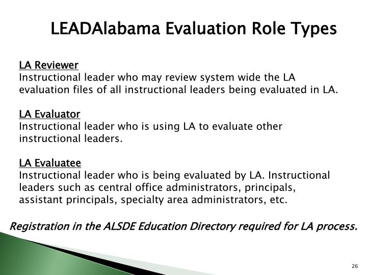 LEADAlabama Evaluation Role Types