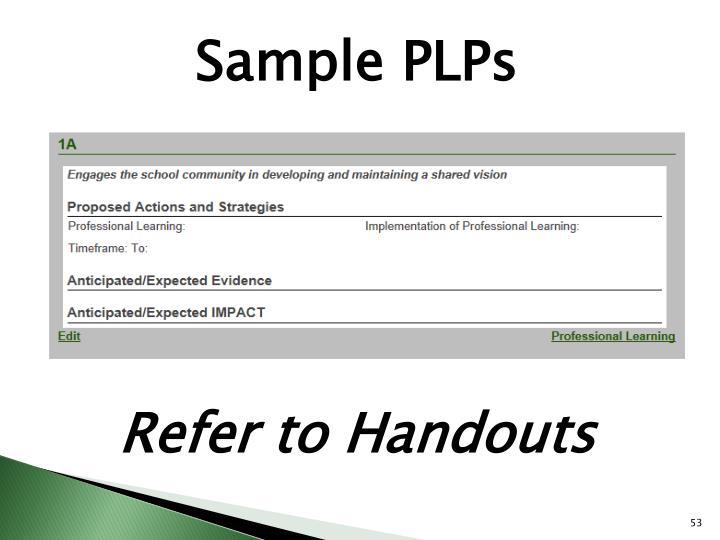 Sample PLPs