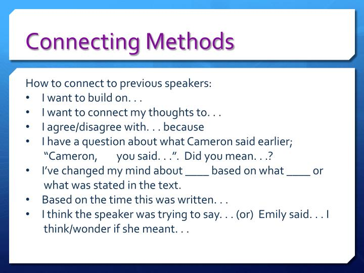 Connecting Methods