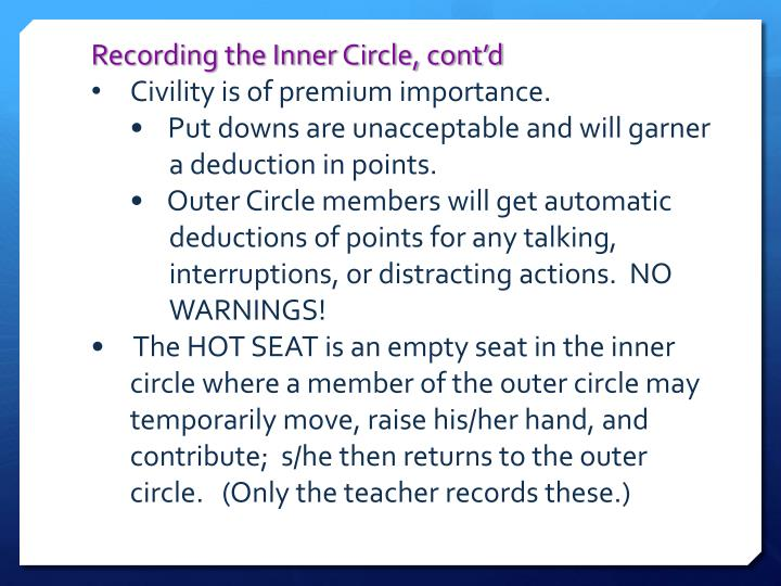 Recording the Inner Circle, cont'd