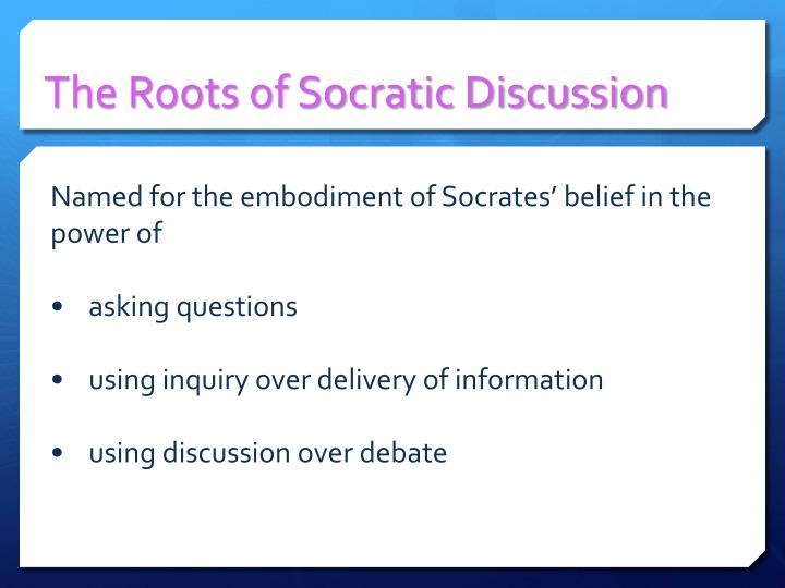 The Roots of Socratic Discussion