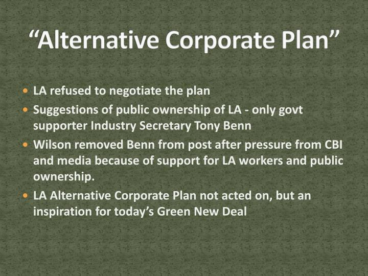 """Alternative Corporate Plan"""