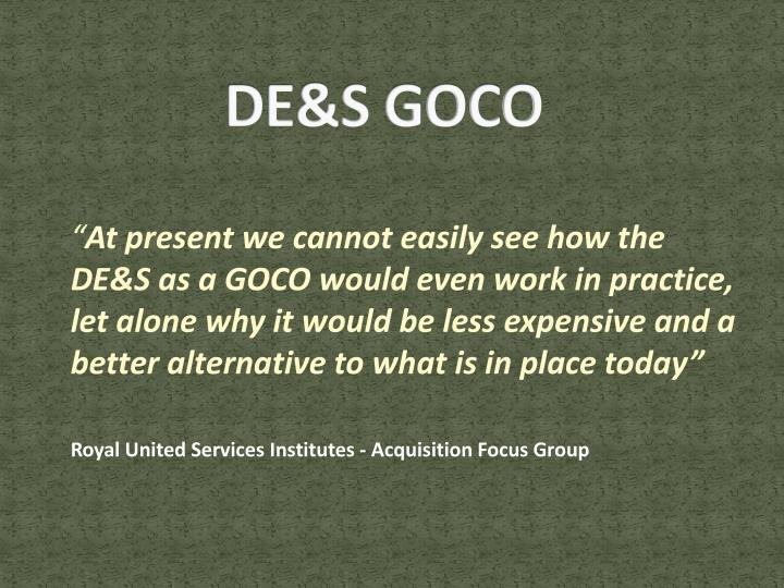 DE&S GOCO