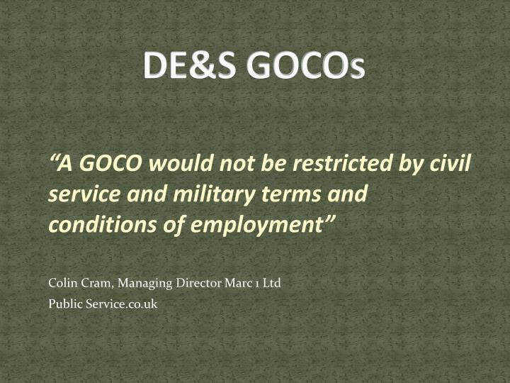 DE&S GOCOs