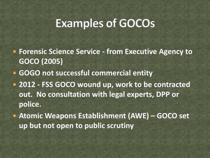 Examples of GOCOs