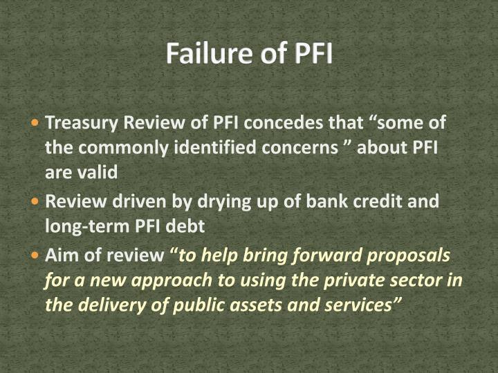 Failure of PFI