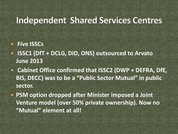 Independent  Shared Services Centres